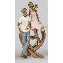 Paar sitzend/stehend an Herz 25cm gold Klassik