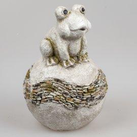 Frosch auf Kugel 30cm stones-grau