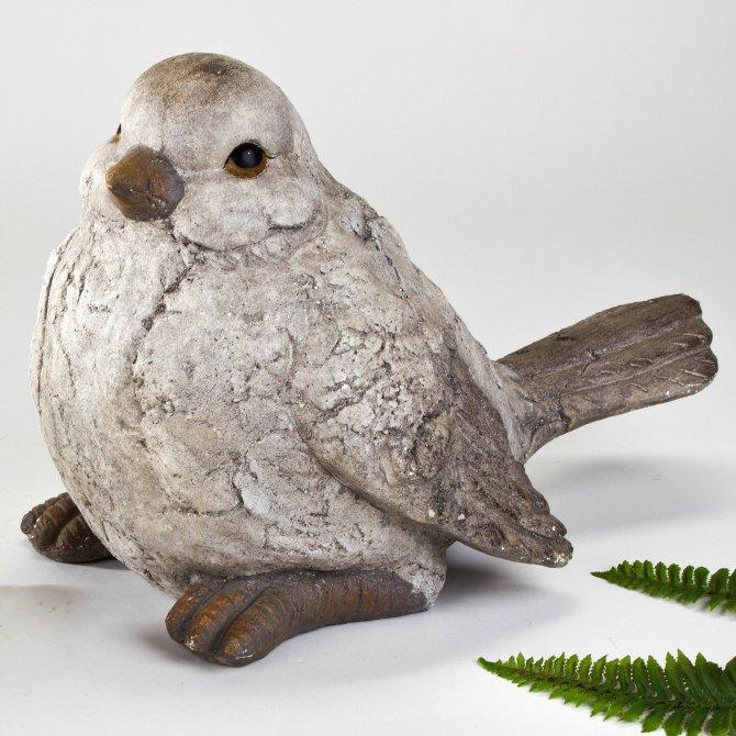 Vogel 47x33cm Stein grau