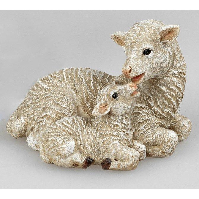 Lamm mit Mutter liegend 10cm naturfarben