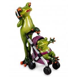 Frosch Mama mit Kinderwagen Buggy