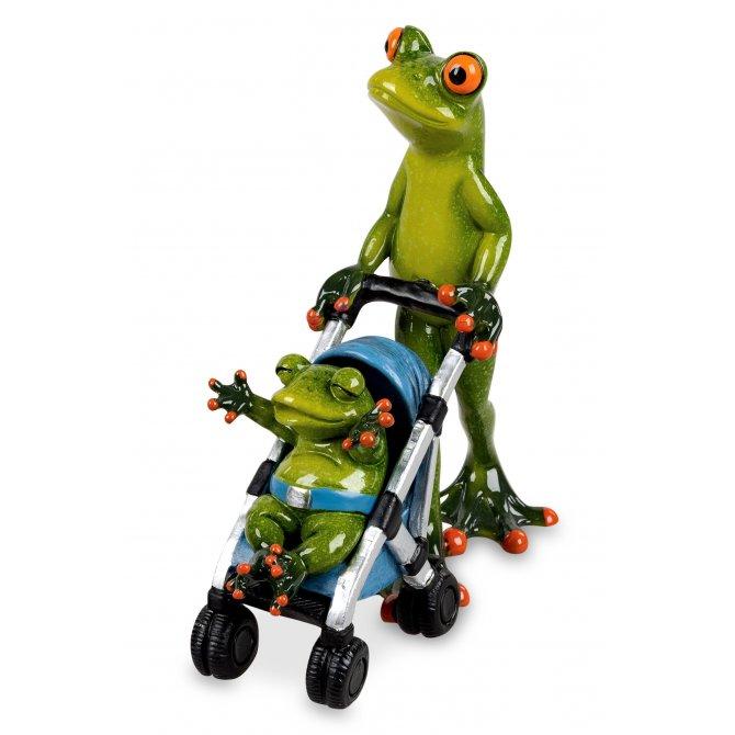 Frosch Papa mit Kinderwagen Buggy