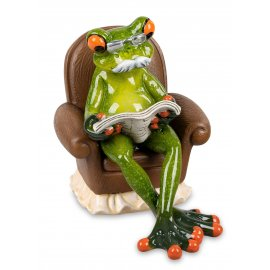 Frosch Opa mit Zeitung auf Sessel