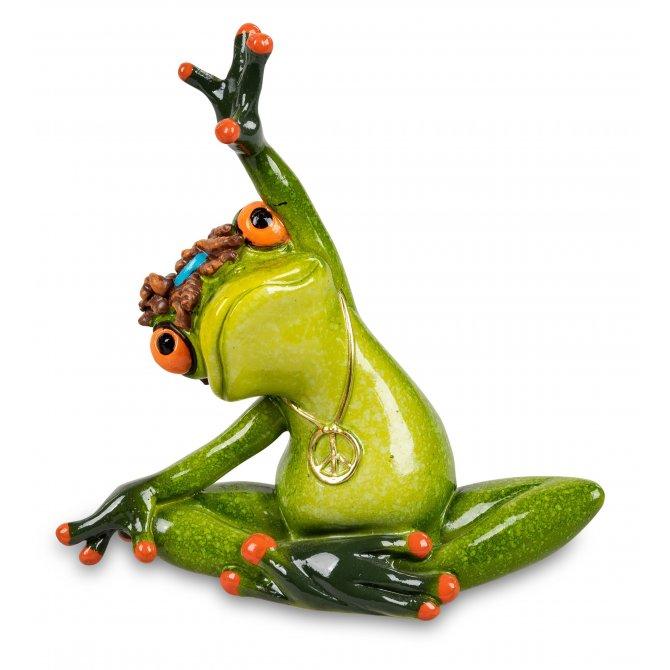 Frosch in Schneidersitz streckend Yoga