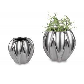 Vase bauchig Mattsilber