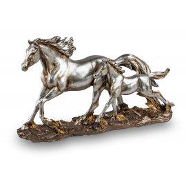 Pferdegruppe 27cm Antik-Silber