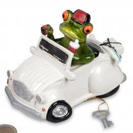 Spardose Frosch in weißem Auto