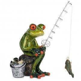Frosch Angler sitzend