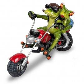 Frosch Biker Paar auf rotem Motorrad