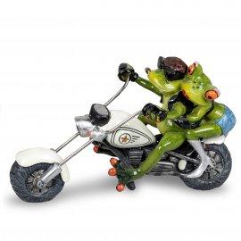 Frosch Biker Paar auf weißem Motorrad