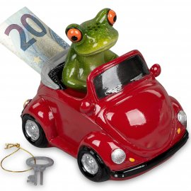 Spardose Frosch in rotem Auto
