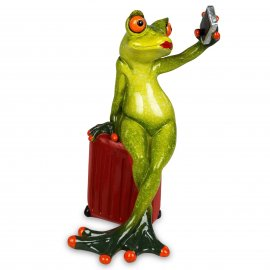 Frosch mit rotem Koffer