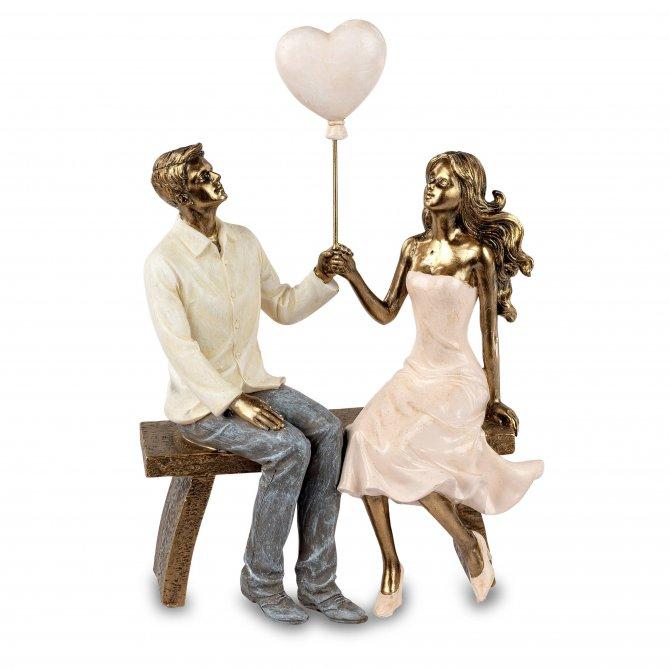 Paar auf Bank 24cm Antik-gold