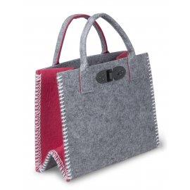 Tasche 34cm Filz grau-rot