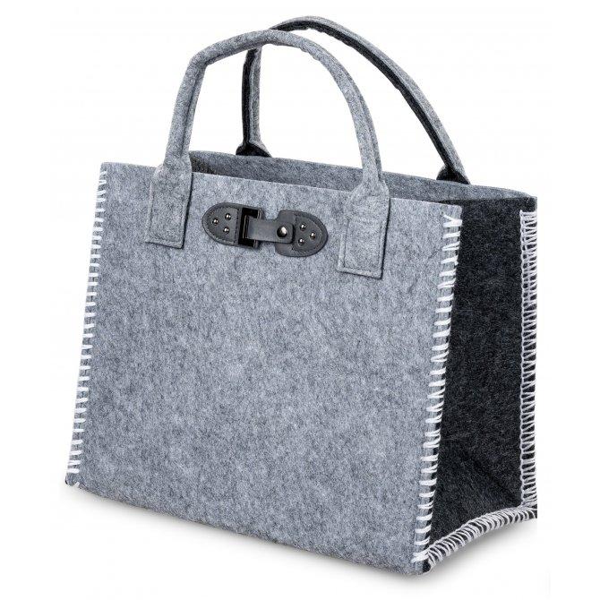 Tasche 34cm Filz grau-schwarz