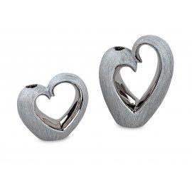 Vase Herz Nature-Silber