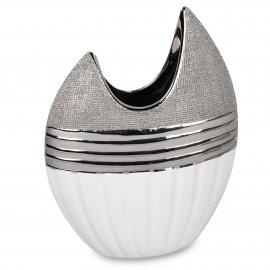 Vase 21cm Weiss-Silber