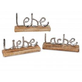 Lebe-Liebe-Lache 3tlg. Alu Mango-Holz