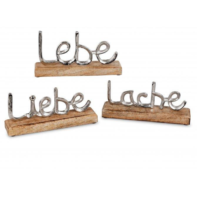 Lebe-Liebe-Lach 3tlg. Alu Mango-Holz