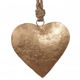 Herz Hänger 18cm Metall antik Gold