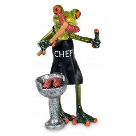 Frosch mit Grill und Wurst