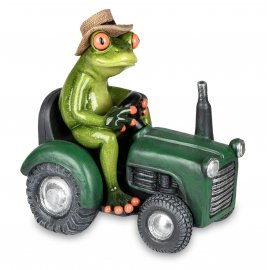 Frosch mit grünem Traktor