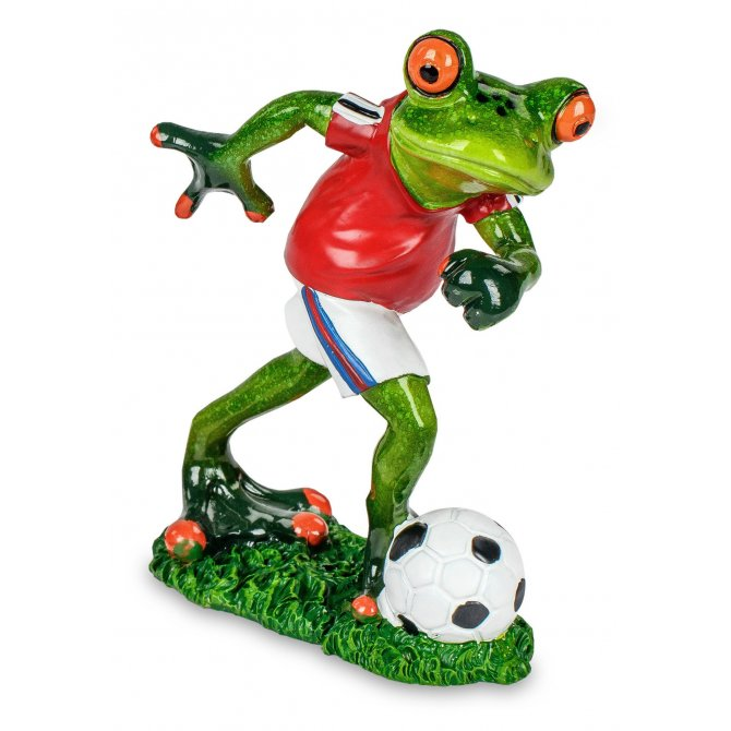Frosch mit Fußball rot