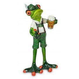 Frosch in Tracht und Bier