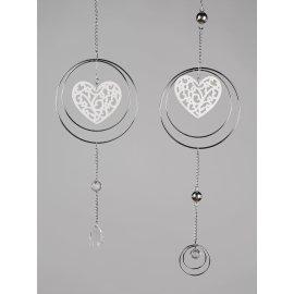 Hänger Herz in Metallkreis 50cm Silber-Keramik
