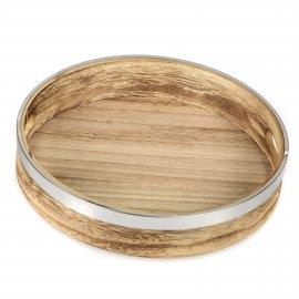 Tablett rund Edelstahl-Holz