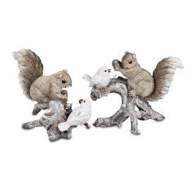 Eichhörnchen mit Vogel auf Ast 20cm Natur-creme