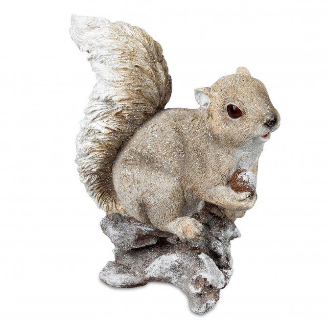 Eichhörnchen auf Stein 23cm Natur-creme