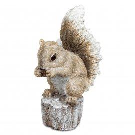 Eichhörnchen auf Baumstumpf 23cm Natur-creme