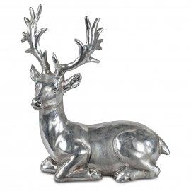 Hirsch liegend 35cm Vintage-Silber