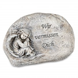 """Stein mit Engel 16cm """"Wir vermissen dich"""""""