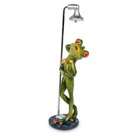 Frosch in Dusche mit Schwamm