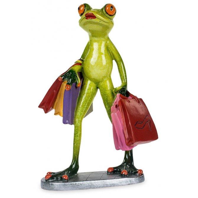 Frosch Shopping mit 6 Einnkaufstüten