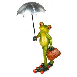 Frosch mit silbernem Schirm