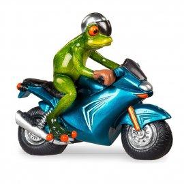 Frosch mit blauem Motorrad