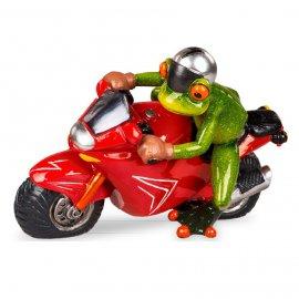 Frosch mit rotem Motorrad
