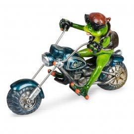 Frosch Biker mit blauem Motorrad