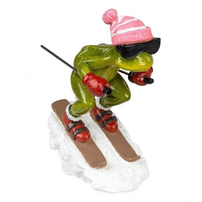 Frosch mit Ski und rosa Mütze