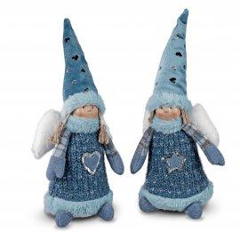Engel stehend 32cm Textil Eis-blau