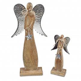 Deko-Engel Alu Mango-Holz