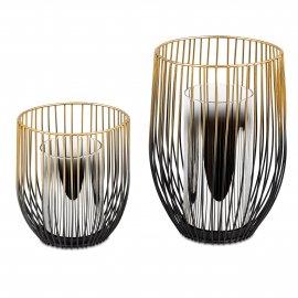 Windlicht Metall schwarz-gold