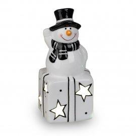 Schneemann auf Geschenk mit LED-Licht