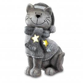 Katze Windlicht 46cm Winterzeit