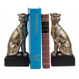 Buchstütze 2er Set Gepard 20cm Antik