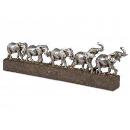 Elefantengruppe 46cm Antik-Silber