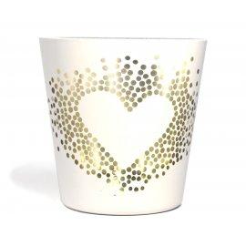 Teelichtglas Herz weiß
